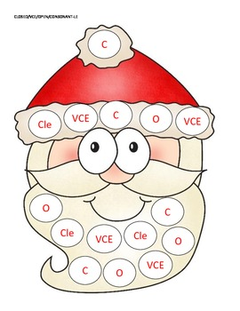 Santa Syllable Bingo!  A Bingo Game for the Six Types of Syllables