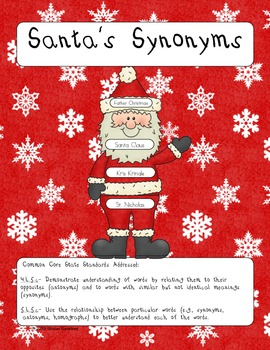 Santa Synonyms- A Christmas synonym center and craftivity