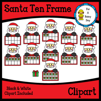 Santa Ten Frames Clipart