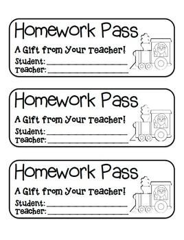"""Santa Train"" Homework Pass –Holiday FUN! (black line version)"