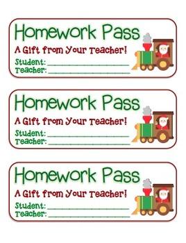 """Santa Train"" Homework Pass –Holiday FUN! (full color & bl"