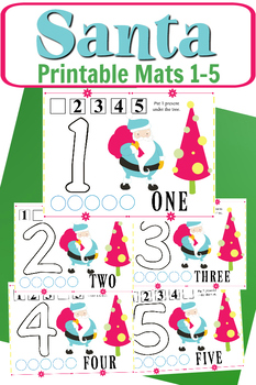 Santa Tree Play Dough Mats 1-5
