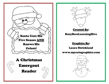 Santa Uses His Five Senses AND Knows His Colors Christmas Emergent Reader