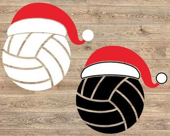 Santa Volleyball Hat Christmas svg Elf sweater ball mom tackle merry 1137s