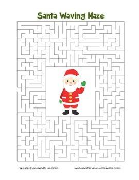 """Santa Waving"" Maze! Holiday FUN! (Color and Black Line)"