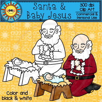 Santa and Baby Jesus Clip Art