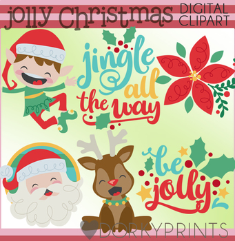 Santa and Elves Christmas Clipart