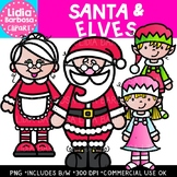 Santa and Elves Clipart {Lidia Barbosa Clipart}