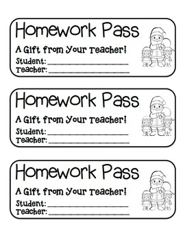 """Santa and Elves"" Homework Pass –Holiday FUN! (black line version)"