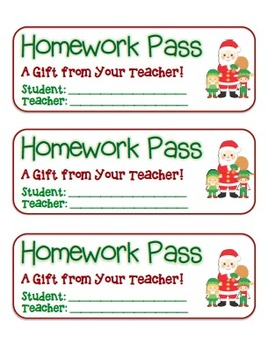 """Santa and Elves"" Homework Pass –Holiday FUN! (full color version)"