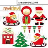 Santa and Friends Clip Art / Cute christmas clipart / commercial use
