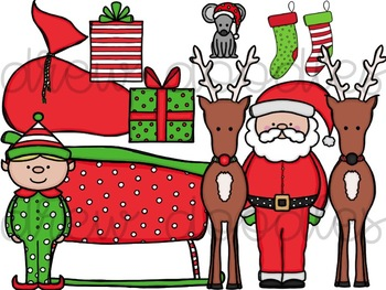 Santa and Friends Digital Clip Art Set