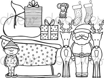 Santa and Friends Digital Clip Art Set- Black Line Version