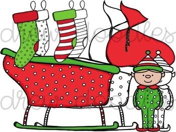 Santa and Friends Digital Clip Art Set- Color and Black Line COMBO