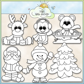 Santa and Friends Winter Fun Clip Art - Christmas Clip Art - CU Clip Art & B&W