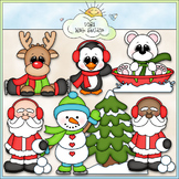 Santa and Friends Winter Fun Clip Art - Christmas Clip Art