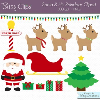 Santa and His Reindeer Digital Art Set Clipart Commercial