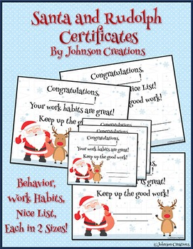 Santa and Rudolph Certificates