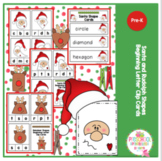 Santa and Rudolph Shapes Beginning Letters Clip Cards
