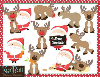 Santa and his Reindeer Clip Art