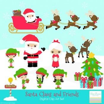 Santa claus Mrs Claus Elves Digital Clipart