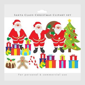 Santa clip art - Christmas clipart, Santa Claus, holiday, festive, pudding