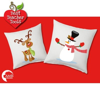 Christmas Clipart, Santa Claus and Reindeer, Snowmen Clipart, AMB-508