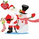 Christmas Santa Claus and reindeer and snowmen clipart AMB-508