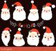Santa faces clipart, Cute Santa heads clip art, Christmas clipart, Santa Claus