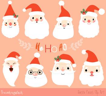 Christmas Clip Art Cute.Santa Faces Clipart Cute Santa Heads Clip Art Christmas Clipart Santa Claus