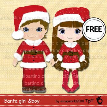 Santa girl and boy christmas clipart FREE