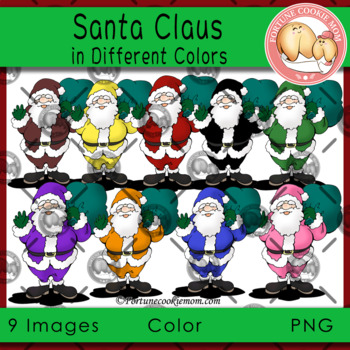 Santa in Different Colors