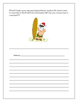 Santa in a Swimsuit Writing Activity