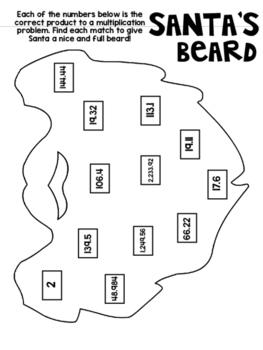 Santa's Beard- Cut and Glue Activity to Practice Multiplying Decimals