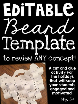 Santa or Leprechaun Beard- EDITABLE Cut and Glue Activity to Review ANY Concept