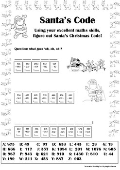 Santa's Christmas Code- Addition and Subtraction (2-3 numbers)