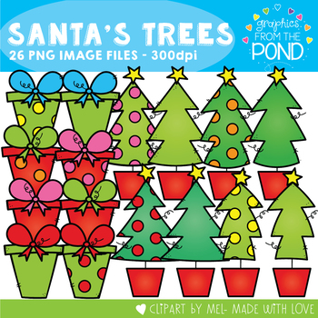 Santa's Christmas Trees Clipart - Trees and Gifts