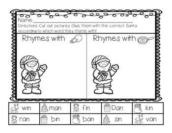Santa's Little Rhymes {CVC Worksheets}