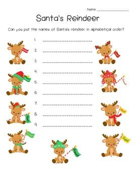 Santa's Reindeer Alphabetical Order, ABC Order