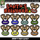 Santa's Reindeer Clip Art {Squishies Clipart}