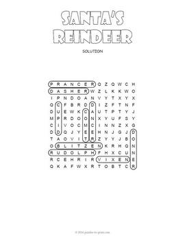 Santa's Reindeer Word Search Puzzle