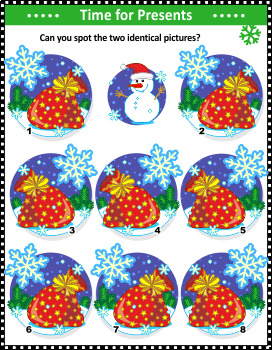 Santa's Sack Find the Identicals Visual Puzzle, Commercial Use Allowed