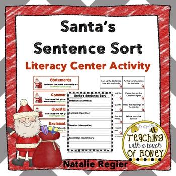 Santa's Sentence Sort: Literacy Center Activity