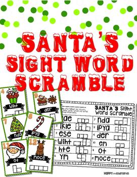Santa's Sight Word Scramble: Holiday Sight Word Review Gam