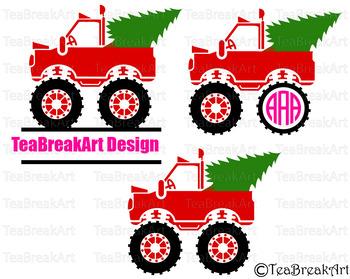Santa's Truck Christmas Monogram Digital Cutting Files SVG