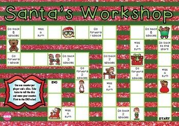 Santa's Workshop Christmas Themed Game Board
