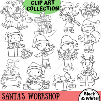 Santa's Workshop Winter Clip Art (BLACK AND WHITE ONLY) by ...