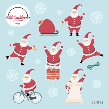 Santa's characters clipart commercial use, santa image, holiday graphics CL002