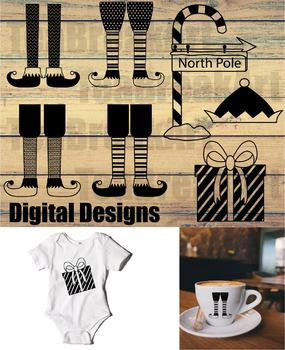 Santa's helpers Christmas Design Cutting Files SVG PNG EPS dxf ClipArt 721C