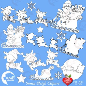 Santa's sleigh Digital Stamp, Black and White Outline Clipart, AMB-2320